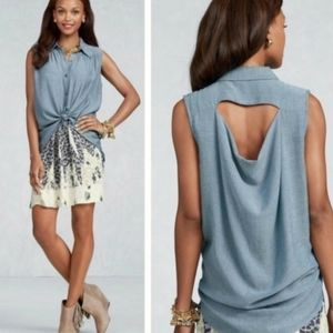 Cabi chambray button-up sleeveless top